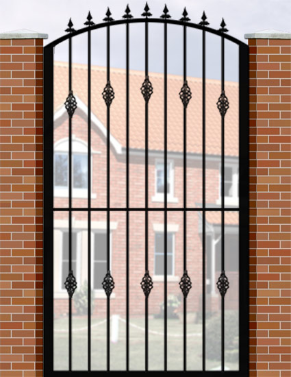 Wrought iron style single gates garden security
