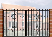Double Gate with Flat Top, Railheads, Baskets & Panel