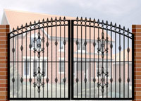 Double Gate with Curve Top, Circle Header, Railheads, Baskets & Panel